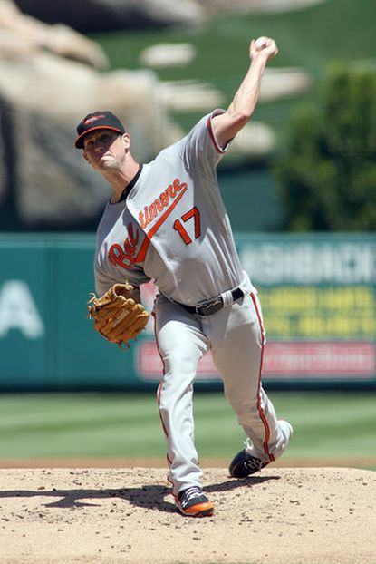 Orioles starter Brian Matusz pitches against the Angels in the first inning. He allowed six runs (five earned) in four innings in taking the loss.