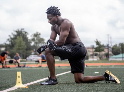"Ravens wide receiver Marquise ""Hollywood"" Brown works out at the Carver Center for Arts and Technology in Towson in early July."