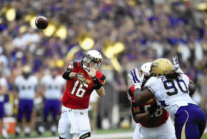 Maryland quarterback C.J. Brown (16) throws a pass against James Madison during the first half of an NCAA football game, Saturday, Aug. 30, 2014, in College Park, Md. (AP Photo/Nick Wass) ** Usable by LA, DC, CGT and CCT Only **