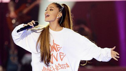 Ariana Grande performs Sunday at the One Love Manchester benefit concert in England.