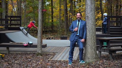 Christopher Schafer, a suit designer in Baltimore, added a skate park to the backyard of his Perry Hall home. His three son, ages 4 to 24, love it.