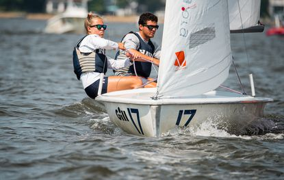 Skipper J.C. Hermus (rear of boat) and crew Kimmie Leonard (foreground) finished second in A Division at the ICSA Gill Co-Ed Dinghy National Championship.