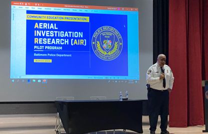 Baltimore Police Commissioner Michael Harrison held the first of three community forums on Wednesday March 11, 2020 to gather input from residents about their thoughts on a surveillance plane launching in April. Photo by McKenna Oxenden.