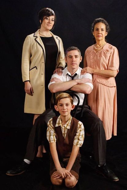 """Alicia Sweeney, standing left, Jason Vellon and Susan Porter star in the Colonial Players production of Arthur Kopit's and Maury Yeston's 1982 Tony Award-winning play, """"Nine."""" Jackson Parlante plays the young Guido in the show."""