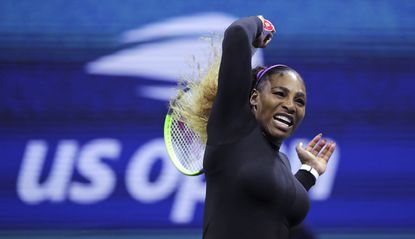 Serena Williams returns to Maria Sharapova during the first round of the U.S. Open tennis tournament in New York, Monday, Aug. 26, 2019. (AP Photo/Charles Krupa)