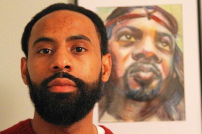 """David Snipes, an artist from Brandywine, loves portraits inspired by historical and cultural figures. His mixed media portrait, """"Black Jesus,"""" is one example of his work."""