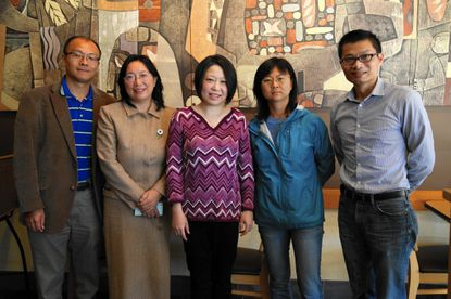 """From left to right, Linfeng Chen, Jenny Qian, Jean Xu, Emily Yuan and Chao Wu are on the board of the newly-formed Chinese American Parent Association of Howard County. """"We want to stand up and have a voice,"""" Wu said about the group"""