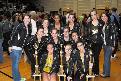 Members of the Mt. Hebron High School Lancer Drill Team include, top row, from left: coach Kelsie McIntyre, Caroline Crowder, Roshni Ghosh, Sammy Smith, Mollie Reese and coach Jenny Caputo Shanahan; Middle row, from left: Jenny Fales, Stef Lynch, Bridget Reese, Jalene Shim; bottom row, from left: Captain Hannah Evans, Co-Captain Amy Trask and Captain Kelsey DeWitt.