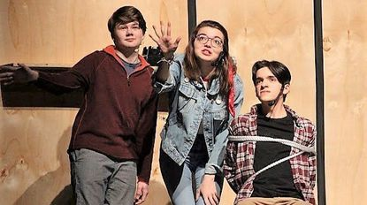 "Dulaney Theatre Company cast members, from left, Pierce Elliot, Shannon Trageser and Ben Clement rehearse for the upcoming performances of the musical ""City of Angels."""