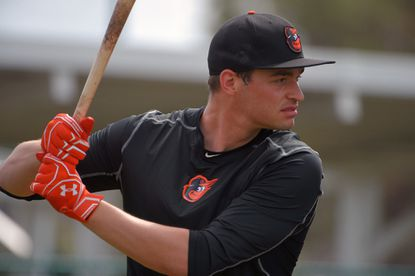 Baltimore Orioles infielder Trey Mancini during spring training practice at the Ed Smith Stadium complex.
