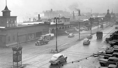 The view of Light Street piers looking South from Pratt Street in February 1946.