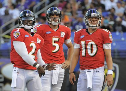 Keith Wenning (right) could become Joe Flacco's backup if Tyrod Taylor (left) leaves in free agency this offseason.