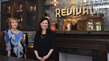 The Hotel Revival, after a year of reconstruction, has re-opened at 101 West Monument. Pictured are Andrea Richey, director of sales and marketing, left, and Beth Brainard, general manager.