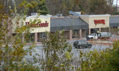 About a year after a tornado touched down in Mount Airy, damaging Twin Arch Shopping Center, the T.J. Maxx store there is reopening.