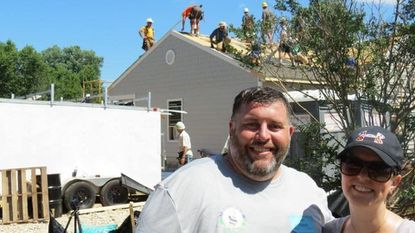 Len Parrish and his wife, Andrea Harkins Parrish, volunteered at Liz Barrett's weekend-long house build in Havre de Grace, along with almost 250 volunteers.