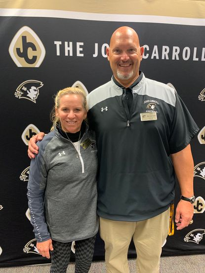 John Carroll coaches Alice Puckett, left, and Ken Brinkman each had milestone wins last Friday.