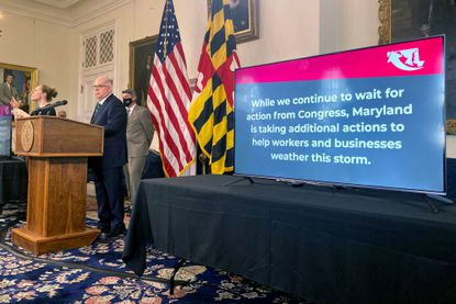 Gov. Larry Hogan gives a COVID-19 update from Annapolis, Maryland.