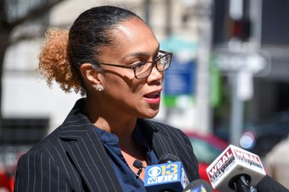 Baltimore City State's Attorney Marilyn Mosby holds a press conference outside the courthouse in downtown Baltimore on Friday, March 26, 2021. (Ulysses Muñoz/Baltimore Sun).