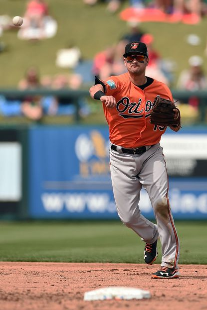 Paul Janish of the Orioles makes a throw to first base during the second inning of a spring training game against the Minnesota Twins at Hammond Stadium on March 5, 2016 in Fort Myers, Fla.