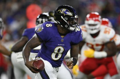 Baltimore Ravens quarterback Lamar Jackson (8) in action in the first half of an NFL football game against the Kansas City Chiefs, Sunday, Sept. 19, 2021, in Baltimore. (AP Photo/Nick Wass)