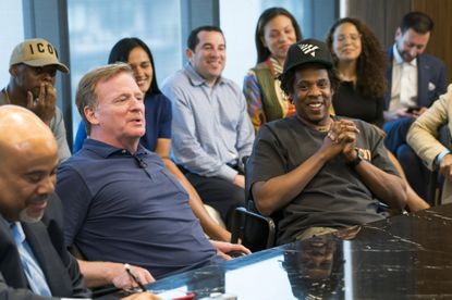 Commissioner of the NFL Roger Goodell and Jay-Z attend a press conference at ROC Nation on Wednesday, Aug. 14, 2019 in New York.