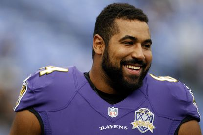 Ravens guard John Urschel looks on prior to a game against the San Diego Chargers at M&T Bank Stadium.