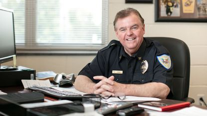 New Laurel Chief of Police Russell Hamill sits in his office at the LPD headquarters on 5th Street.