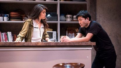 "Eunice Bae, left, is Cornelia, and Tony Nam is Ray in Everyman Theatre's production of Julia Cho's ""Aubergine."""