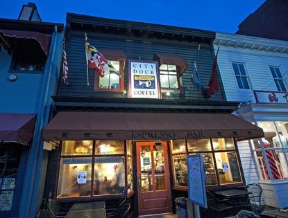 City Dock Cafe, also known as City Dock Coffee, welcomes customers in the pre-dawn light.