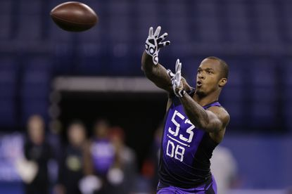 Florida State defensive back P.J. Williams runs a drill at the NFL football scouting combine in Indianapolis, Feb. 23.