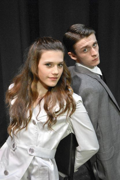 "Kristin Gibbons and Mikey Hudson play Agent 99 and Maxwell Smart, respectively, in Westminster High School's production of ""Get Smart."""