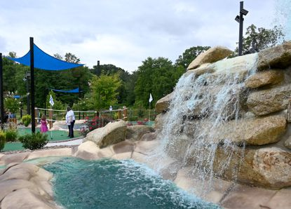 Several water features including a large waterfall at the new Mountain Run Mini Golf course in Fallston.