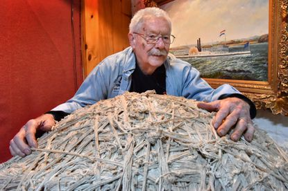 Bob Gerber, owner of The Antique Man, purchased the famous 825-pound ball of string in 1999 when Haussner's restaurant in Highlandtown closed. Gerber, who paid more than $8,000 for the iconic ball made from the string used to tie laundered linens for the restaurant, plans to sell this collectible within a year. He is downsizing the operation at his Fleet Street antique store. Feb. 4, 2020