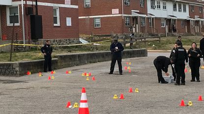 Four people were shot on Boston Street in the O'Donnell Heights neighborhood in Southeast Baltimore Thursday afternoon, police say.