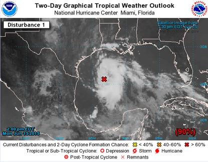 A low-pressure system in the Gulf of Mexico is likely to become Tropical Storm Bill this week.