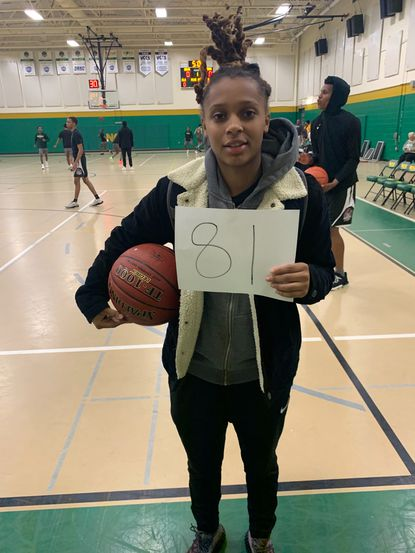 CCBC Essex's Mya Moye takes a picture after scoring 81 points in a game against Northern Virginia Community College on Wednesday, January 29, 2020.