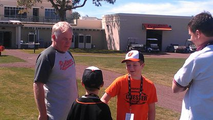 Grandson of Johnny Oates spends some quality time with Orioles