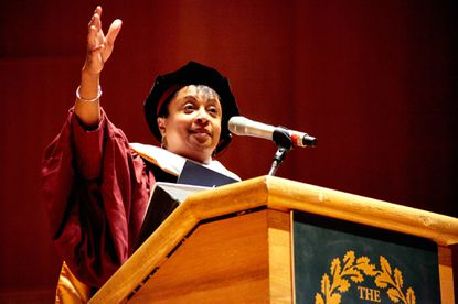 Carla Hayden speaks at the commencement ceremony for graduate students at the Maryland Institute College of Art.
