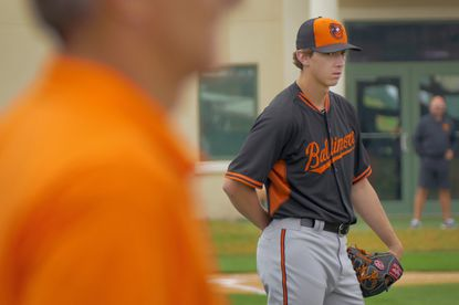 Orioles pitcher Hunter Harvey participates during spring training at the Orioles' training facility Tuesday, Feb. 24, 2015.
