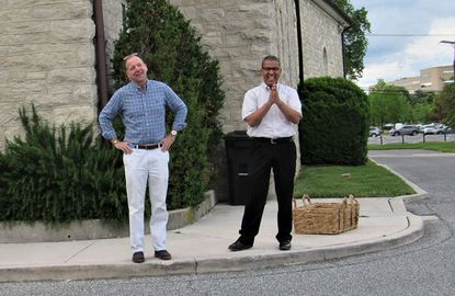 The congregation of Saint Joseph Roman Catholic Church in Cockeysville put on a parade May 27 to celebrate the 25th anniversary of the ordination of their pastor, Monsignor Richard Hilgartner, aka Father Rick, left, shown here with Father John Martinez.