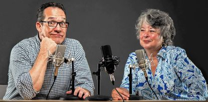 Dennis Wood (left) and Victoria Goodman (right) are the hosts of a new podcast launched by the Howard County Library System in early September. HiJinx, as the audio series is called, aims to inform and entertain listeners while promoting the library system's resources.