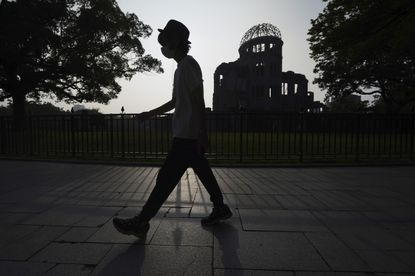 The Atomic Bomb Dome is seen at dusk, Tuesday, Aug. 4, 2020, in Hiroshima, western Japan. The city of Hiroshima on Thursday, Aug. 6, marks the 75th anniversary of the U.S. atomic bombing.