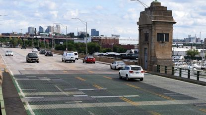 Traffic crosses the 101-year-old Hanover Street bridge between Port Covington and Cherry Hill.