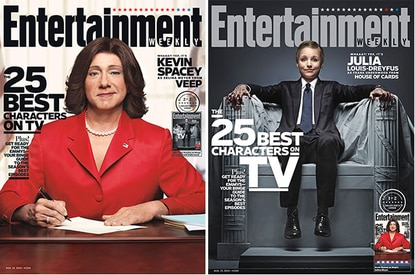 Kevin Spacey as Selina Meyer and Julia Louis-Dreyfus as Frank Underwood on the covers this week from Entertainment Weekly. How lucky we are to have these two making great series in Baltimore.
