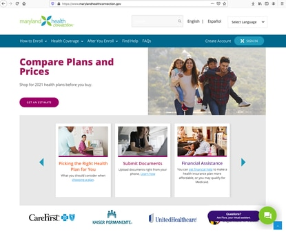 The home page of Maryland Health Connection, where residents can go to buy health insurance under Obamacare.