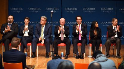 Most of the Democratic gubernatorial candidates make their case to college students at a Young Voters Forum at Goucher College. They include from left: Ben Jealous, Alec Ross, Richard Madaleno, Jim Shea, Kevin Kamenetz, Krish Vignarajah and Ralph Jaffe.