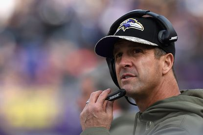 Ravens head coach John Harbaugh of the Baltimore Ravens looks on during a game against the Tennessee Titans at M&T Bank Stadium.
