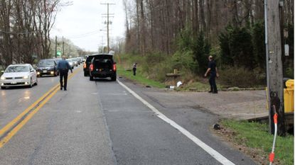 Anne Arundel police investigate an area off of Central Avenue in Edgewater around the hit-and-run that killed David Allen Decheubel Jr.