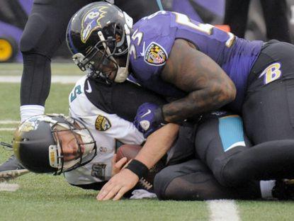 Ravens linebacker Terrell Suggs sacks Jacksonville Jaguars quarterback Blake Bortles during the second quarter.