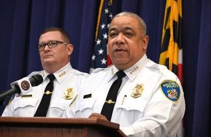 Baltimore ended 2019 with 348 homicides on record. Police Commissioner Michael Harrison addresses the violence Tuesday at a news conference.